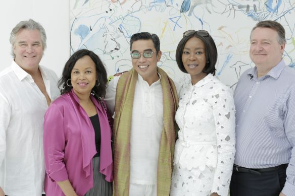 Jeremy Perrot - Global Creative Director at McCann Health with H.E. Dr Coumba Toure - Maritage Chair & Head of Advanced Development of Africa, Toyin Saraki - Founder-President of the Wellbeing Foundation Africa  and John Cahill - Global CEO at McCann Health