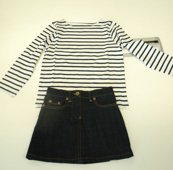 Breton Top and Denim Skirt