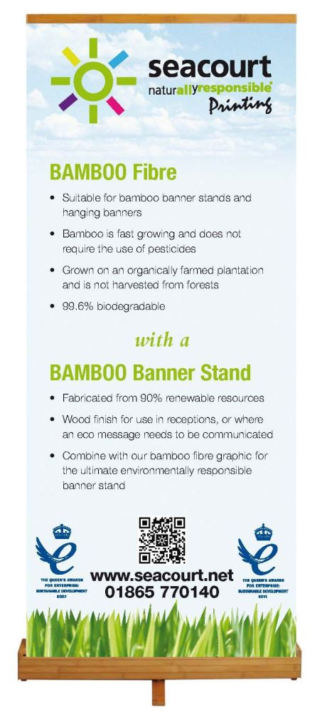 Bamboo Banner Stand ready
