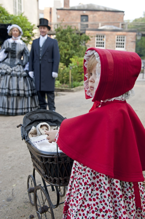 Costumed interpreters in Victorian dress at Quarry Bank Mill, Wilmslow, Cheshire.