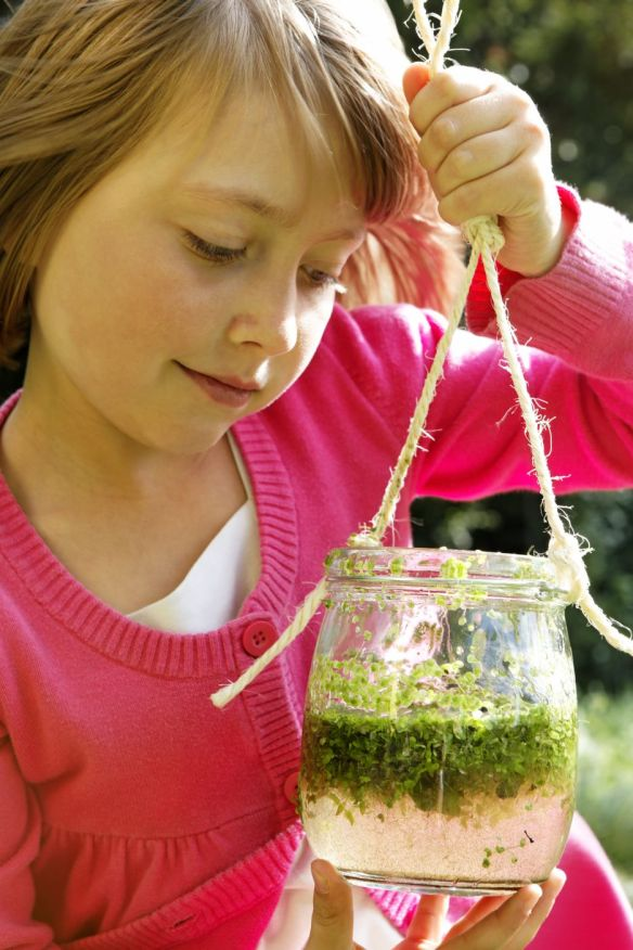 Child looking at jar of pond water at Oxburgh Hall, Norfolk.