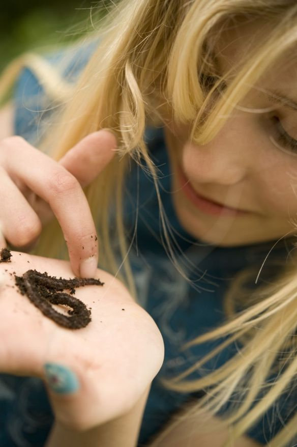 Child taking a close look at a worm