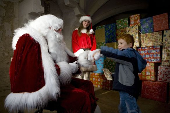 Children visit Santa at Lacock Abbey, Wiltshire ©National Trust Images, David Levenson