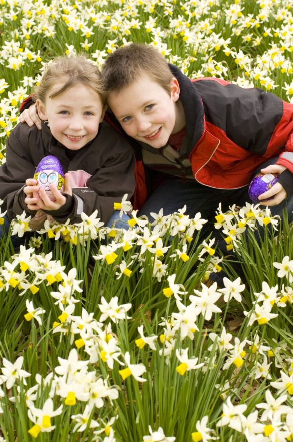 Children on an Easter egg trail at Basildon Park, sponsored by Cadbury, Reading, Berkshire, during March