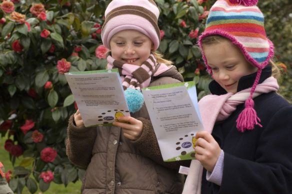 Children on an Easter egg trail at Sheffield Park, East Sussex, sponsored by Cadbury, Reading, Berkshire, during March