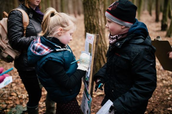 Children taking part in an Easter egg trail event on the Ashridge Estate, Hertfordshire.